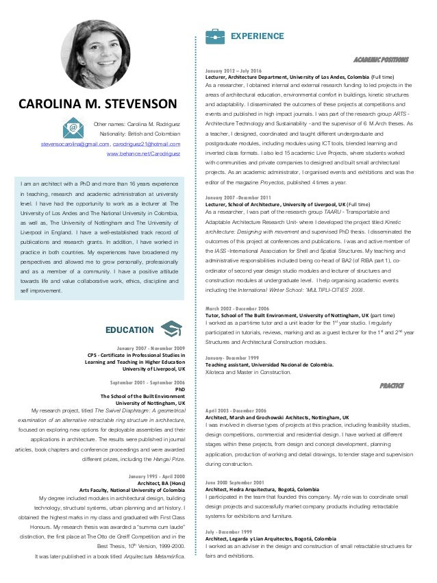 a template for a researchers curriculum vitae tenk