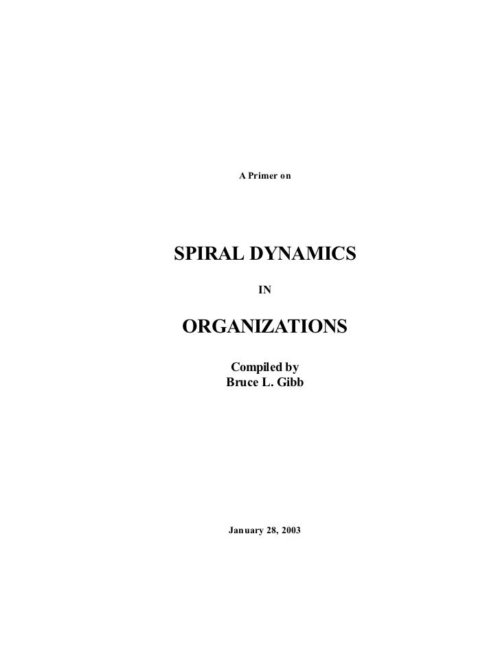 A Primer onSPIRAL DYNAMICS          INORGANIZATIONS     Compiled by    Bruce L. Gibb    January 28, 2003