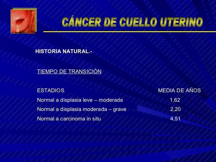 TIEMPO DE TRANSICIÓN ESTADIOS  MEDIA DE AÑOS Normal a displasia leve – moderada  1,62 Normal a displasia moderada – grave ...