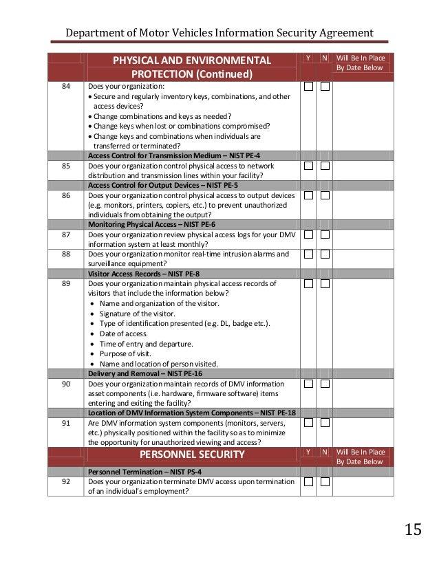 California DMV Security Risk Assessment (SRA) for vendors