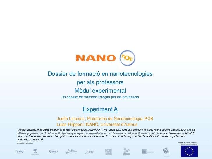 Dossier de formació en nanotecnologies                                    per als professors                              ...