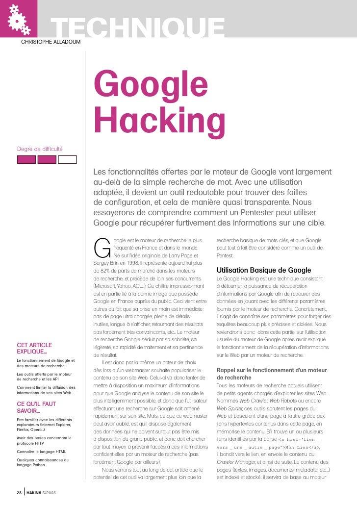 TECHNIQUE  CHRISTOPHE ALLADOUM                                    Google                                    HackingDegré d...