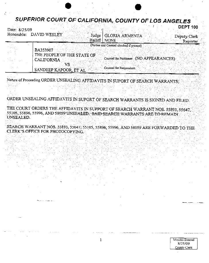 Ca   Kapoors Search Warrant