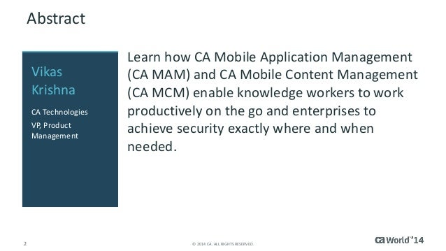 CA Mobile Application & Content Management – A User First ...