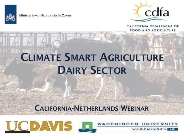 CLIMATE SMART AGRICULTURE DAIRY SECTOR CALIFORNIA-NETHERLANDS WEBINAR