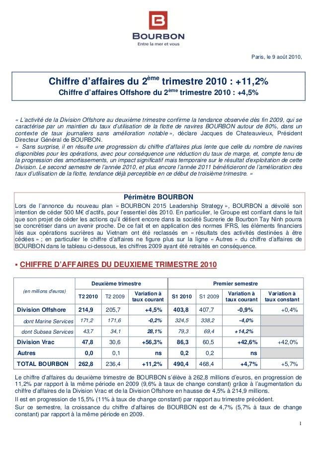 1 Paris, le 9 août 2010, Chiffre d'affaires du 2ème trimestre 2010 : +11,2% Chiffre d'affaires Offshore du 2ème trimestre ...