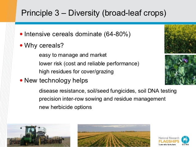 Principle 3 – Diversity (broad-leaf crops)• Intensive cereals dominate (64-80%)• Why cereals?      easy to manage and mark...