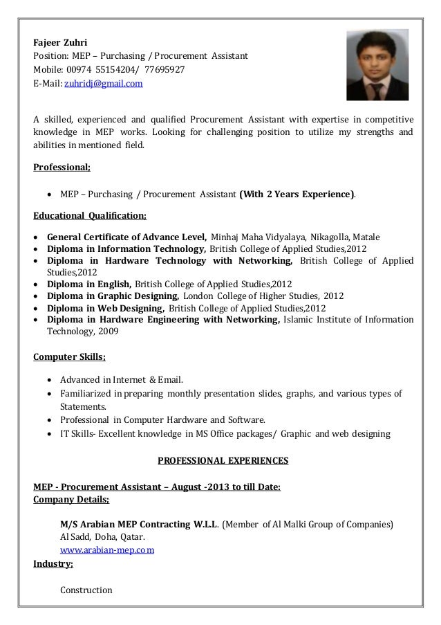 Cover Letter For Purchasing Assistant Position