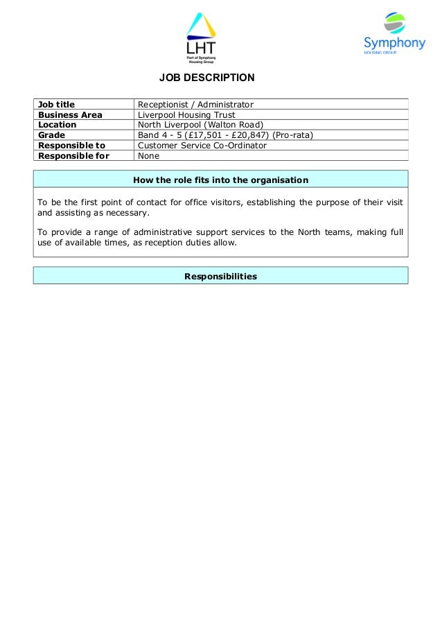 Job Description Template  Receptionist
