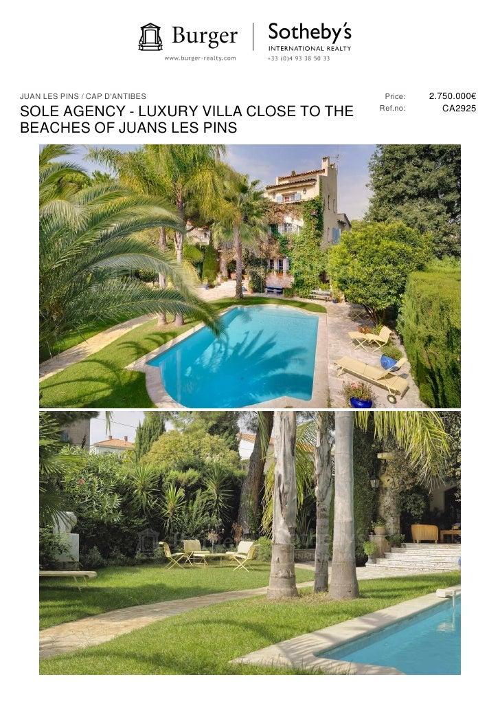 JUAN LES PINS / CAP DANTIBES              Price:   2.750.000€                                          Ref.no:      CA2925...