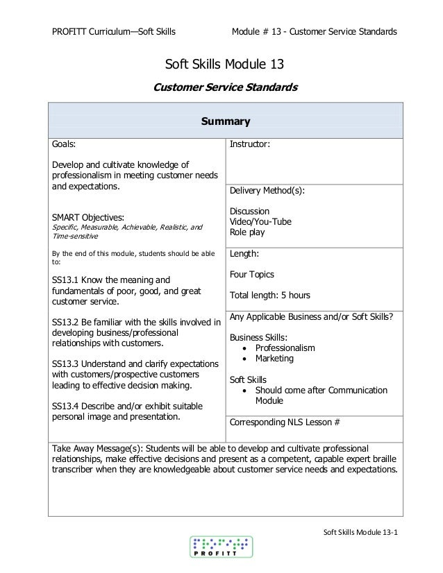 soft skills module 13 customer service standards
