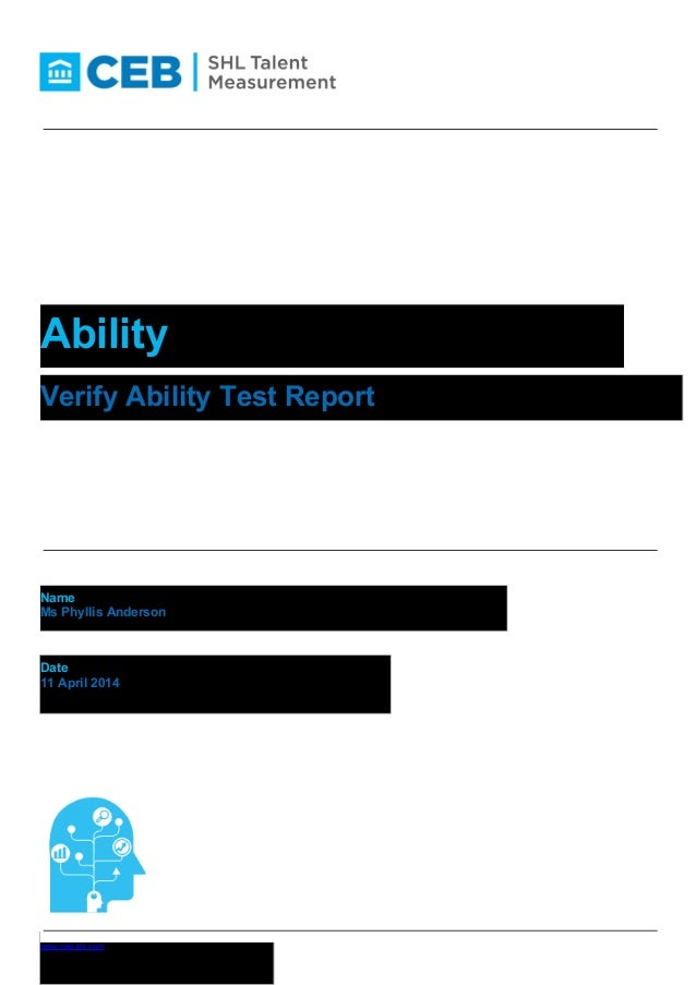 Phyllis anderson shl cebl ability verify ability test report name ms phyllis anderson fandeluxe Gallery