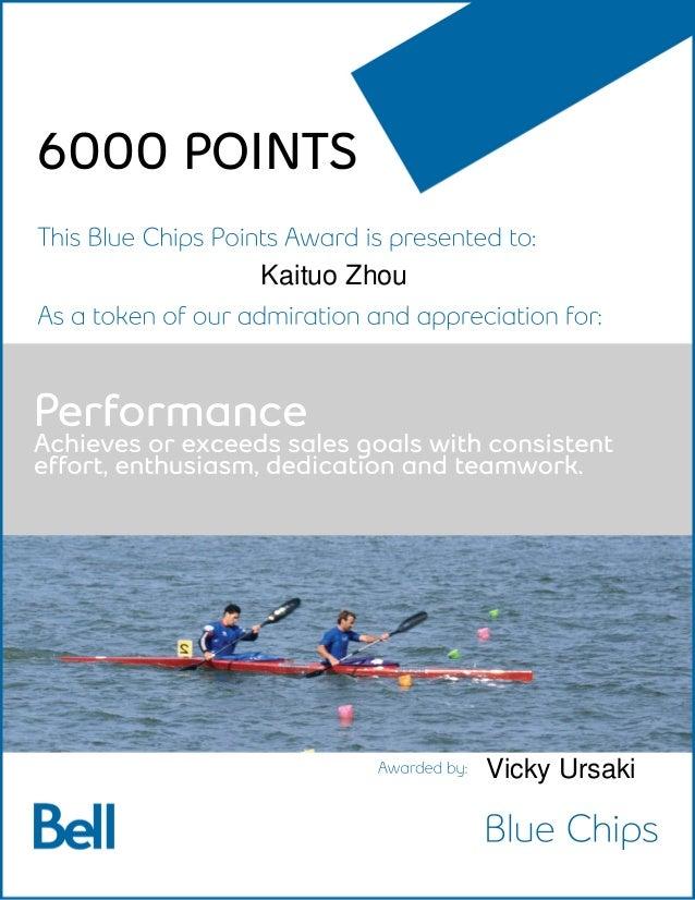 Performance Achievesorexceedssalesgoalswithconsistent effort,enthusiasm,dedicationandteamwork. BlueChips ThisBlueChipsPoin...