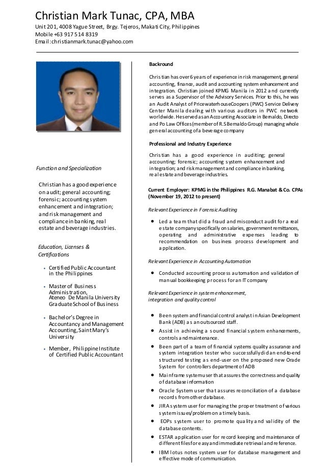 Christian Mark Tunac Cpa Mba Detailed Resume