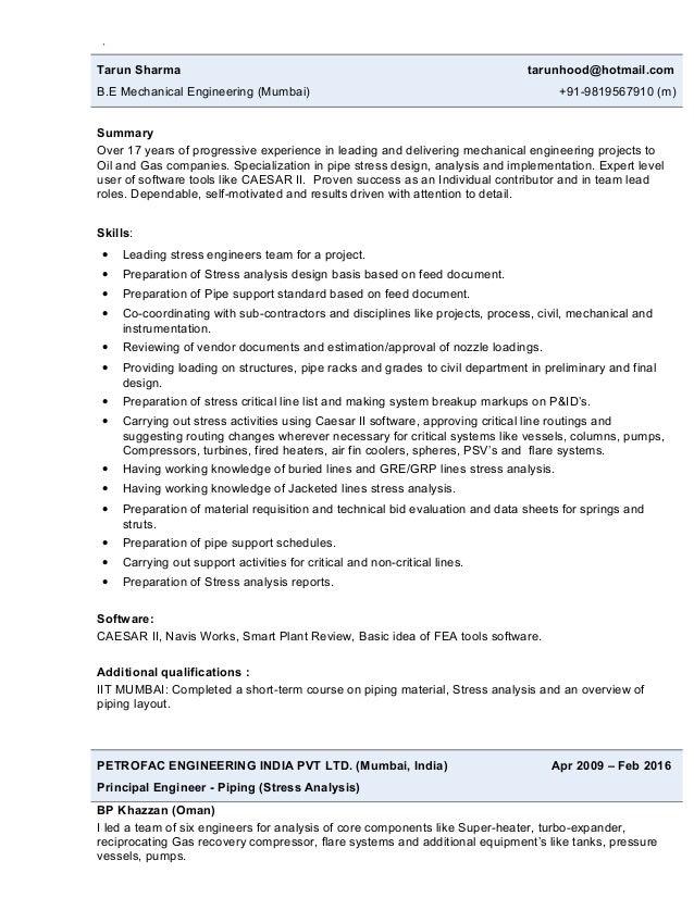 Piping Material Engineer Resume Professional User Manual Ebooks