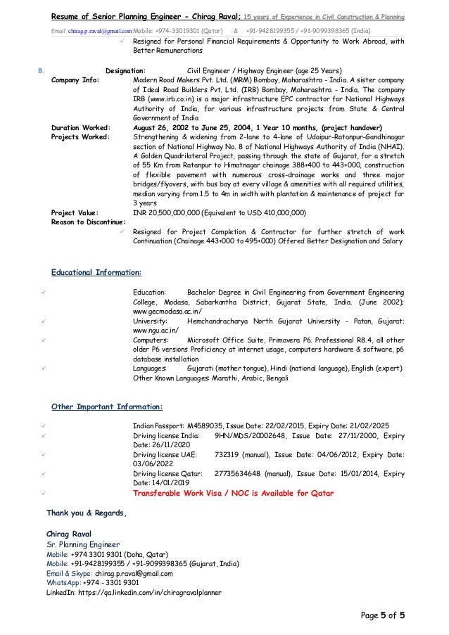 CV of Planner & Project Engineer - Chirag Raval