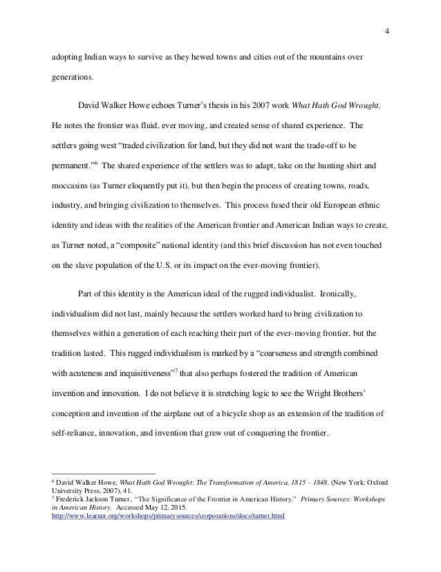 Young Goodman Brown Essay Reflective Essay Frederick J Turner  Essay On Solitude also Persuasion Essay Essay On America Reflective Essay Frederick J Turner Umich  Sample Essay Teacher