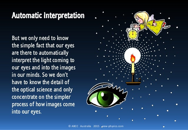 © ABCC Australia 2015 new-physics.com Automatic Interpretation But we only need to know the simple fact that our eyes are ...
