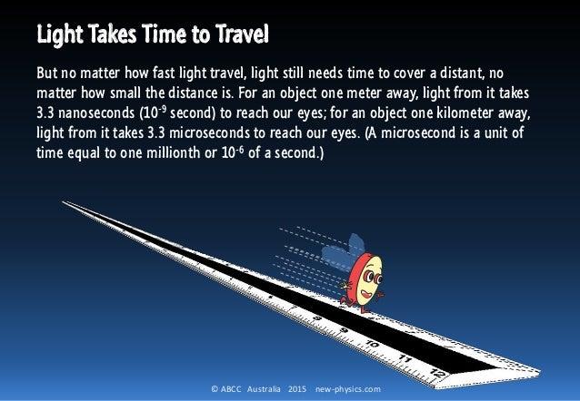 © ABCC Australia 2015 new-physics.com Light Takes Time to Travel But no matter how fast light travel, light still needs ti...