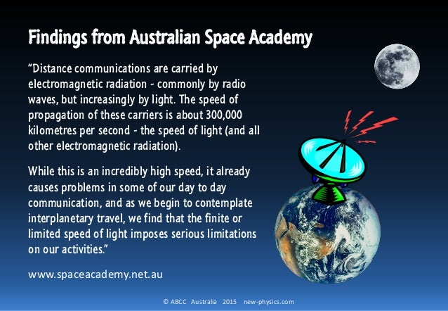 """© ABCC Australia 2015 new-physics.com Findings from Australian Space Academy """"Distance communications are carried by elect..."""