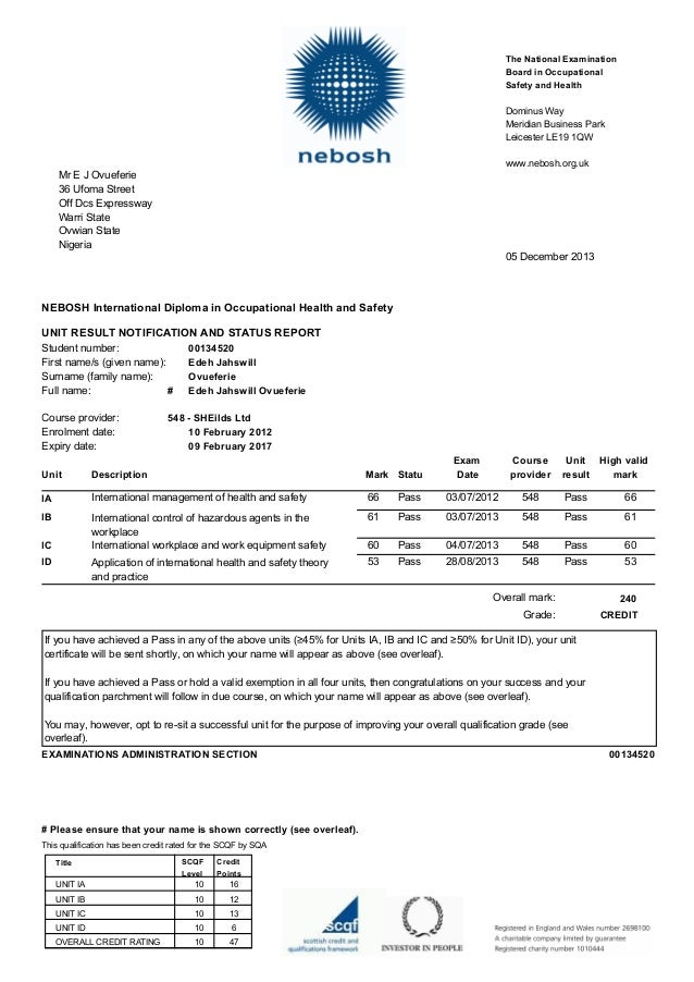 nebosh certificate unit d Nebosh certificate | unit fc2 practical fire risk assessment national certificate in fire safety and risk management summary fire risk assessment sheet unit fc2 – fire safety practical application form 3 candidate's name j smith student number12345 overall assessment of risk of fire occurring – h/m/l with justification (this may be either.