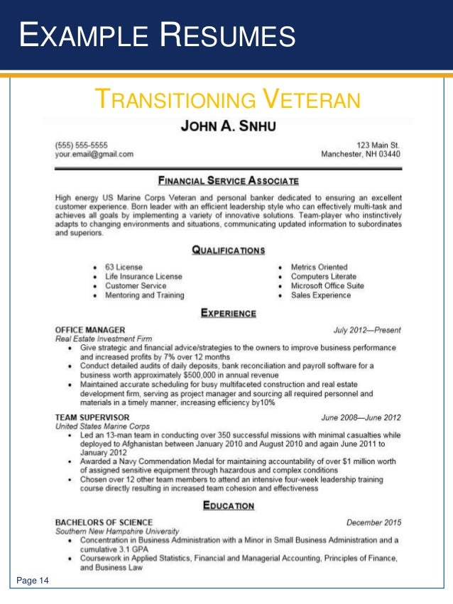 page 14 example resumes transitioning veteran