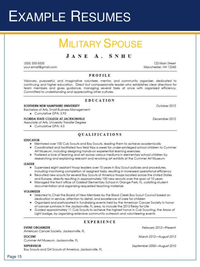 EXAMPLE RESUMES Page 15 MILITARY SPOUSE
