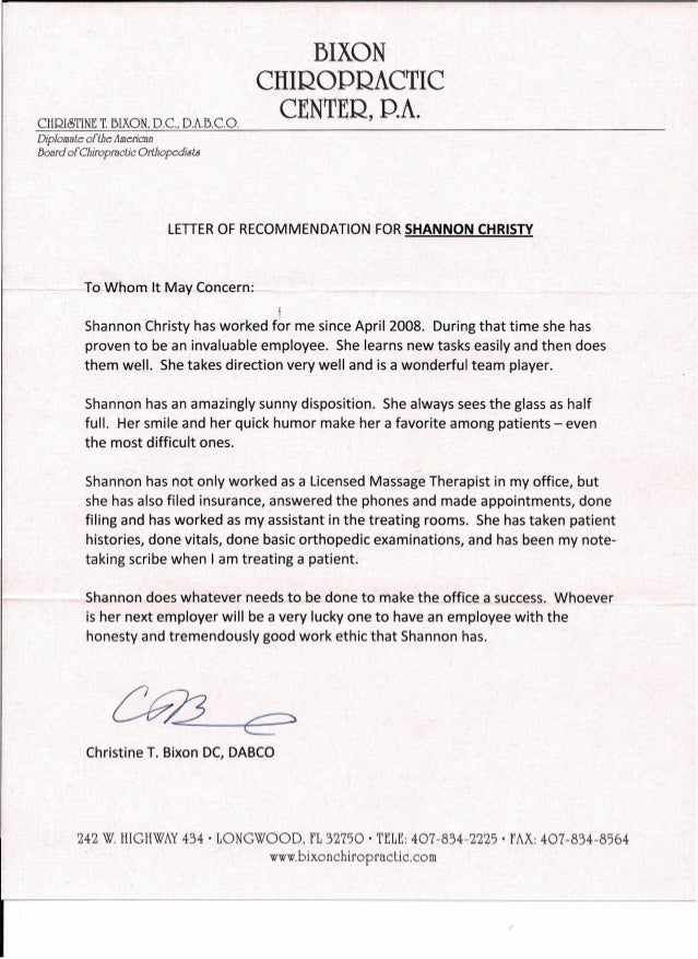 letter of recommendation from dr bixon