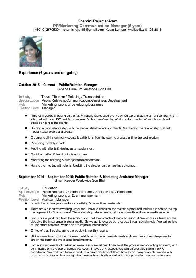 Superb Shamini Rajamanikam PR/Marketing Communication Manager (6 Year) (+60)  0125705304 ...