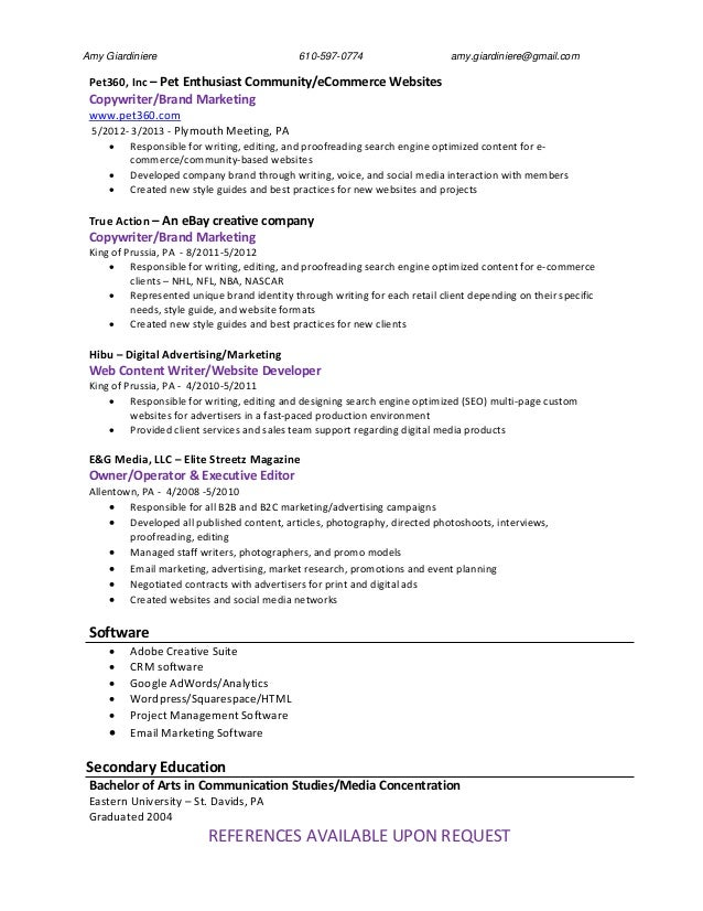amy giardiniere entertainment writer resume