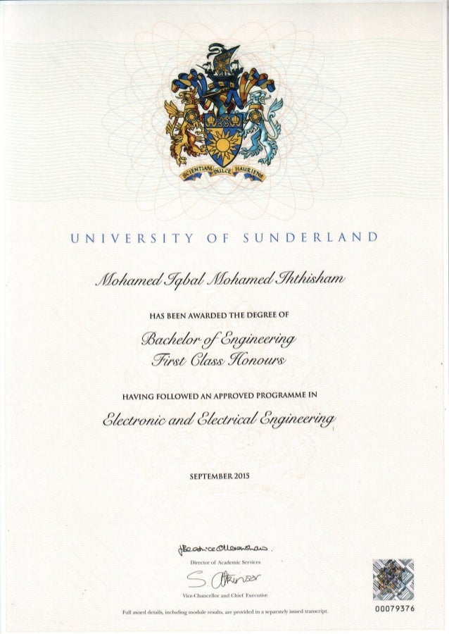 Degree Certificate Sunderland Pdf