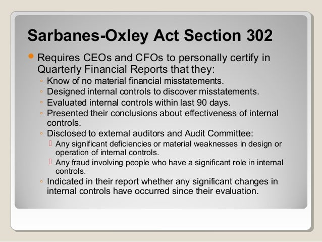 the sarbanes oxley act internal controls essay Exemption: evidence from small firms' internal control  despite a decade of  research on the sarbanes-oxley act of 2002 (sox), the net benefits and  in  summary, we focus on two measurable costs of ic misreporting attributed to 404( b).