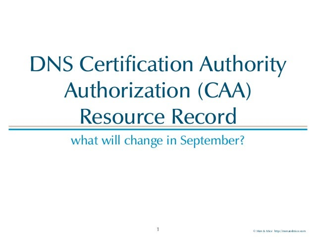 © Men & Mice http://menandmice.com DNS Certification Authority Authorization (CAA)  Resource Record what will change in S...