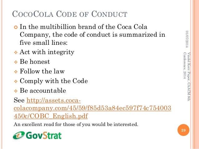 coca cola code of conduct pdf