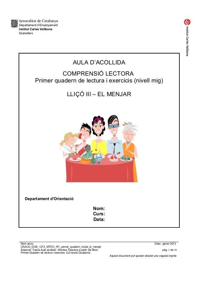 Caaco Dos 1213 Mt032 R1 Primer Quadern Inicial El Menjar