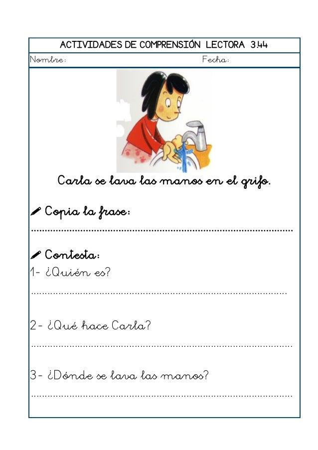 ACTIVIDADES DE COMPRENSIÓN LECTORA 3.45 Nombre: Fecha: Pilar lee un cuento muy divertido.  Copia la frase: .................