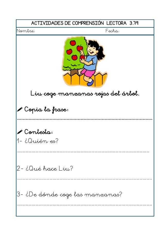 ACTIVIDADES DE COMPRENSIÓN LECTORA 3.80 Nombre: Fecha: Raúl se suena con el pañuelo.  Copia la frase: ......................