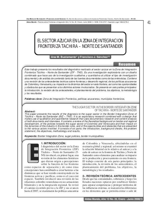 41Este trabajo presenta los resultados del diagnóstico realizado al sector azúcar en la Zona de IntegraciónFronteriza Tách...