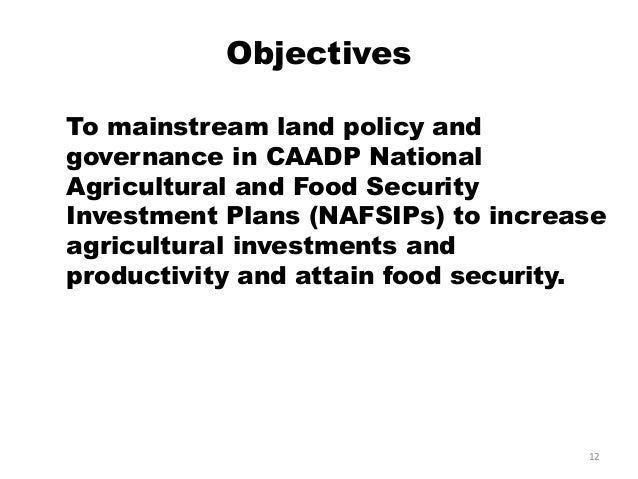 Mainstreaming of Land Governance in National Agricultural
