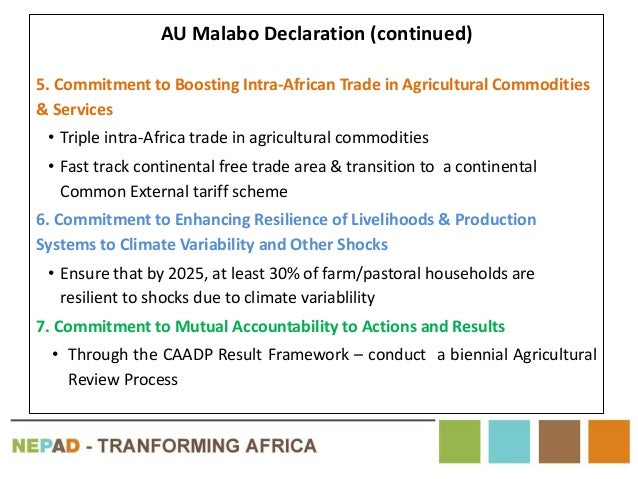 AU Malabo Declaration (continued) 5. Commitment to Boosting Intra-African Trade in Agricultural Commodities & Services • T...