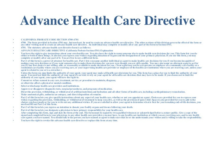 Advance Directive Example  Ex