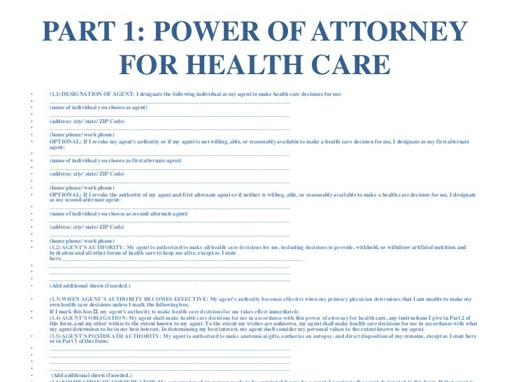 California Advance Directive Living Will  Power Of Attorney