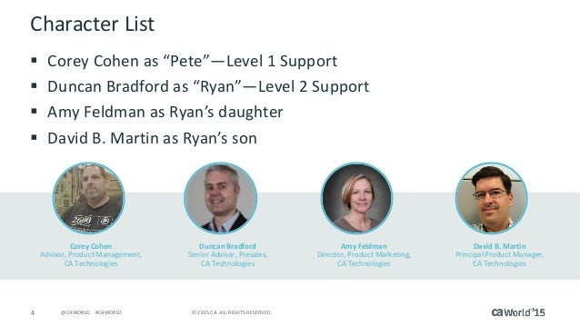"""4 © 2015 CA. ALL RIGHTS RESERVED.@CAWORLD #CAWORLD Character List  Corey Cohen as """"Pete""""—Level 1 Support  Duncan Bradfor..."""