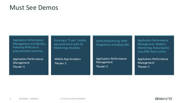 7 © 2015 CA. ALL RIGHTS RESERVED.@CAWORLD #CAWORLD Must See Demos Application Performance Management and DevOps, featuring...