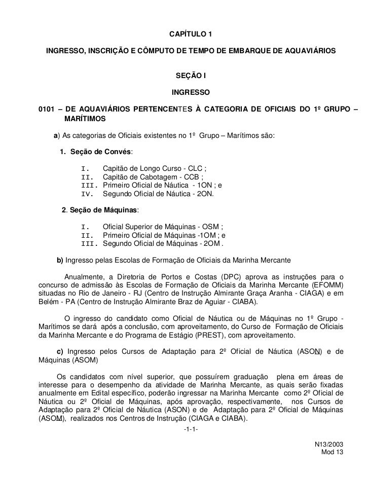 CAPÍTULO 1  INGRESSO, INSCRIÇÃO E CÔMPUTO DE TEMPO DE EMBARQUE DE AQUAVIÁRIOS                                         SEÇÃ...