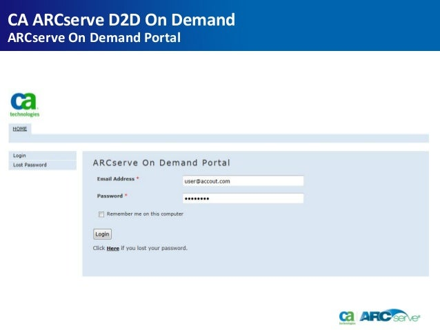 CA ARCserve d2d on demand overview updated