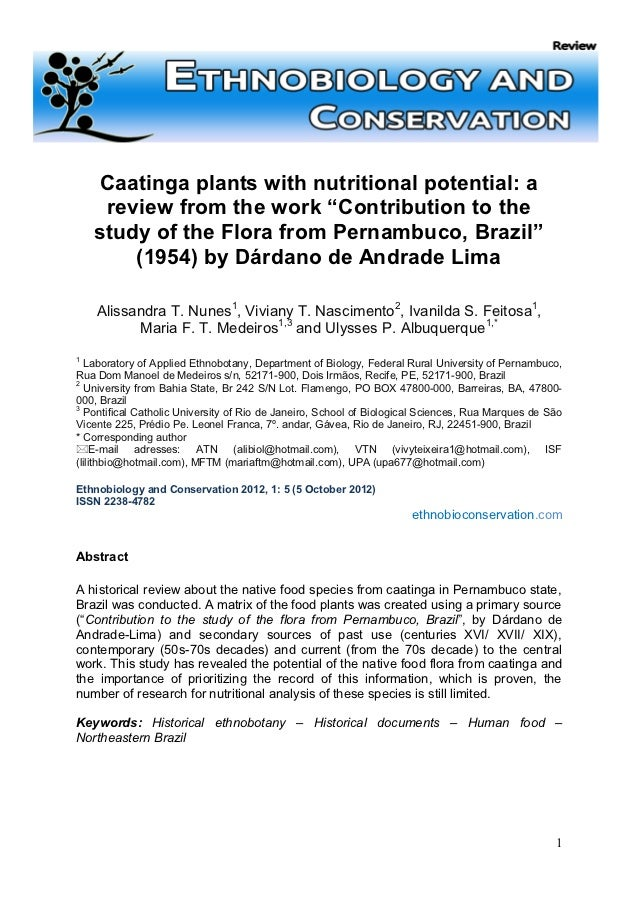 """Caatinga plants with nutritional potential: a     review from the work """"Contribution to the    study of the Flora from Per..."""