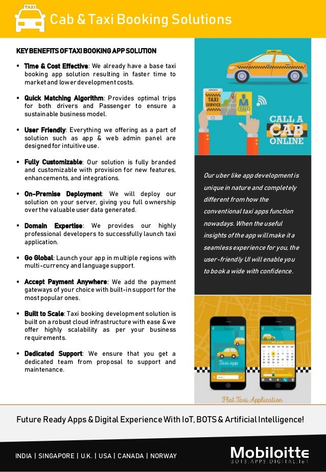 Cab taxi booking solutions Mobiloitte
