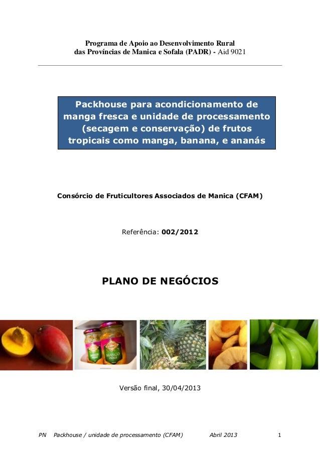 PN Packhouse / unidade de processamento (CFAM) Abril 2013 1 Programa de Apoio ao Desenvolvimento Rural das Províncias de M...