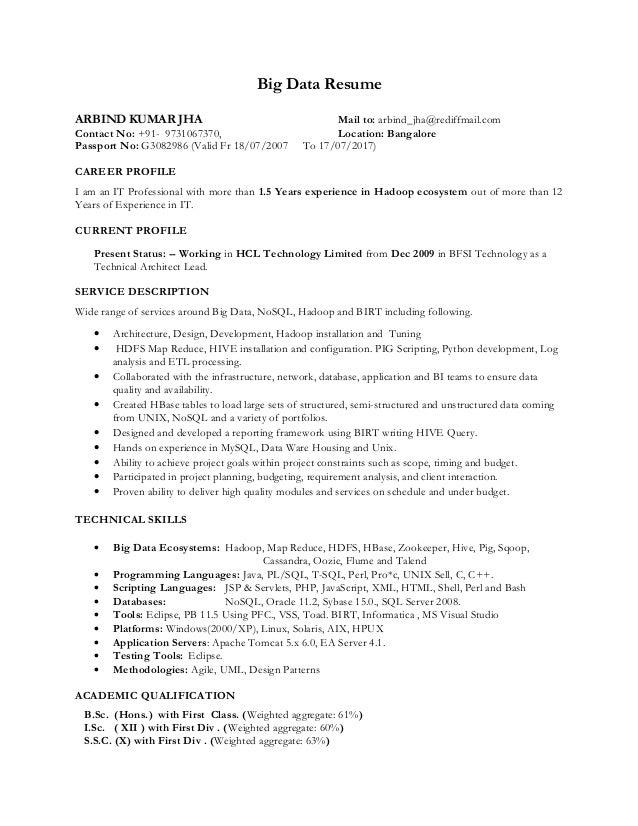 big data resume - Roho.4senses.co